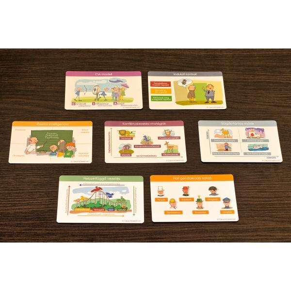Szociális kompetencia kártyákból 7 fajta, mindegyikből 8-8 darab
